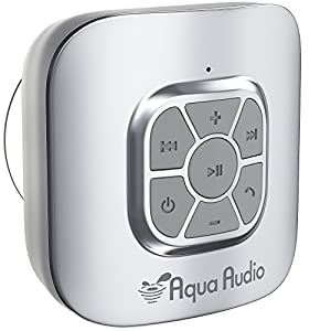 AquaAudio Cubo – Portable Waterproof Bluetooth Speaker with Suction Cup for Showers, Car, etc. - Pairs with All Bluetooth Devices + Siri Compatible - 10 hours Playtime/ Built-in Mic (Silver)