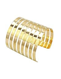 Fashion Women Gold Alloy 6.5cm Wide Openwork Cuff Bangle Bracelet For Party Prom