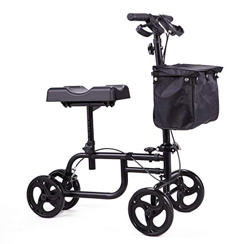 Gifter_Mall Walking Free Knees Mobility Equipment Walker Deluxe Steerable Cycle Knee Scooter Crutch Foldable