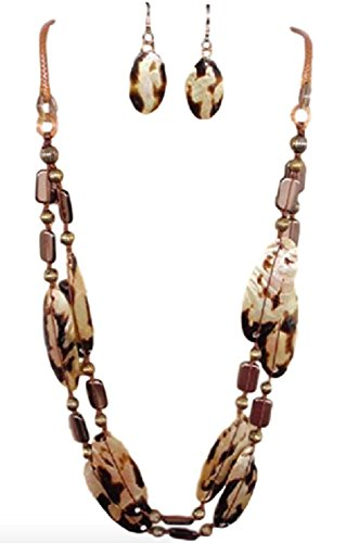- IVETH 2 Strand Necklace with Wax Cord and Lip Shells Set (Brown Animal Print)