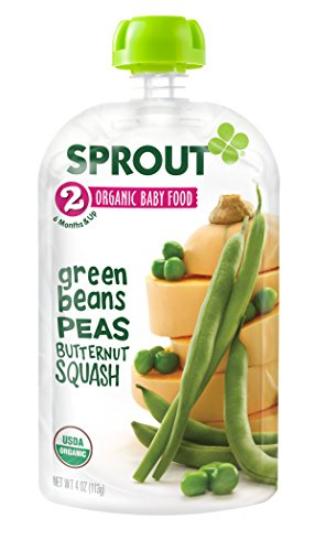 Sprout Organic Baby Food Stage 2 Pouches, Green Beans Peas Butternut Squash, 4 Ounce (Pack of 5)