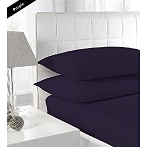 """{ 600 TC / STRIPE PATTERN }THREE {3} PCS FITTED SHEET KING SIZE WITH 18"""" DEEP POCKET IN NEW PURPLE COLOR 100% EGYPTIAN COTTON"""