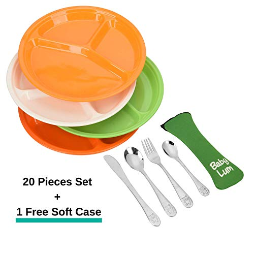 BabyLum Kids Melamine Dinnerware Set – 4 Place Settings Include Divider Plates with Toddler Utensils Plus 1 Flatware Carry Case (21 Pieces)