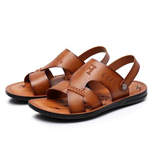 Pelle Da 41 Scarpe Comode pantofole Sportiva Light Per brown In Dimensione EU Marrone Doppie Sandali Wagsiyi Uomo Esterno 1 da Spiaggia Scarpe Colore 3 Da spiaggia 1XwExv