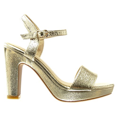 Angkorly - Zapatillas de Moda Sandalias Tacón escarpín zapatillas de plataforma sexy mujer tanga Hebilla Talón Tacón ancho alto 11 CM - Oro