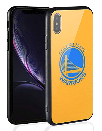 Sportula NBA Phone Case - 9H Tempered Glass Back Cover Silicone Rubber Bumper Frame Compatible Apple iPhone X/iPhone Xs (Golden State - Team Logo Case Iphone