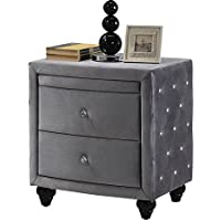 Meridian Furniture Hudson-NS Hudson Collection Grey Velvet Upholstered 2 Drawer + 1 Pull Out Shelf Nightstand with Crystal Handles, Crystal Button Tufting, and Custom Solid Wood Legs, Grey