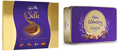 Cadbury Dairy Milk Silk Miniatures Chocolate Gift Box, 240g and Cadbury Celebrations Rich Dry Fruit Chocolate Gift Box, 177g (B07NYSX8TC) Amazon Price History, Amazon Price Tracker