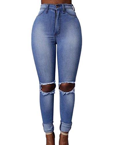 Dooxi Stretch Taille Dcontracte Dchir Clair Pantalons Denim Crayon lgant Skinny Haute Femmes Bleu Jeans FwrxUtqHF
