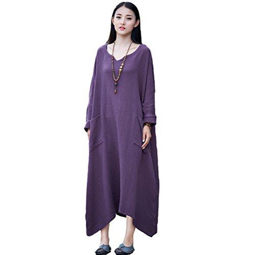 Robe Maxi Linge De Coton Batwing Occasionnel Des Femmes Aeneontrue Avec De Grandes Poches Violet