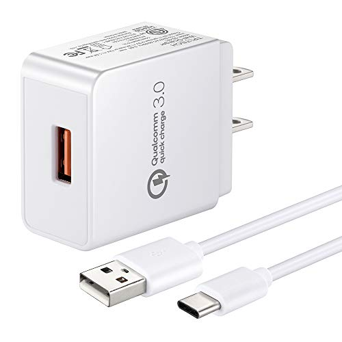 Quick Charge 3.0 18W Travel Rapid Charger Compatible for HTC 10, U11 / U11+, U12 + Plus, U11 Life/Eyes, HTC U Ultra/Play, HTC Bolt/Evo 10 Phone, 5Ft USB Type C Charging Cable