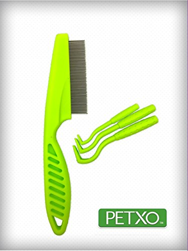 Home Tick Removal Tool for Dogs, Cats and Humans | Ultra-Safe Tick Remover | Removes Entire Head & Body | Pain-Free Ticks Remover | Tick Control Products | Pack of 3 + Flea Comb For Pets. by OXO PET PRODUCTS (Image #1)