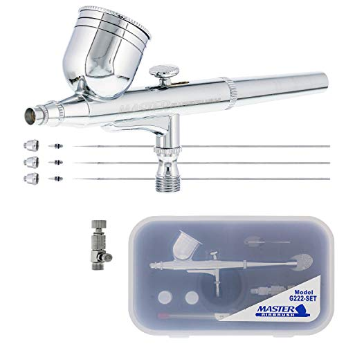 - Master Performance G222 Pro Set Master Airbrush with 3 Nozzle Sets (0.2, 0.3 & 0.5mm Needles, Fluid Tips and Air Caps) - Dual-Action Gravity Feed Airbrush with 1/3 oz. Cup - Spray Auto Art Hobby Cake