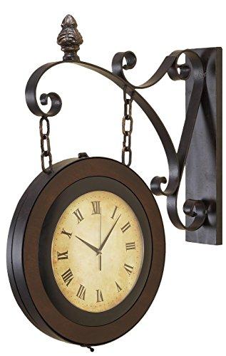 Deco 79 Metal Wall 2-Side Clock, 24 by - Light Inch 22 Bracket Outdoor Wall