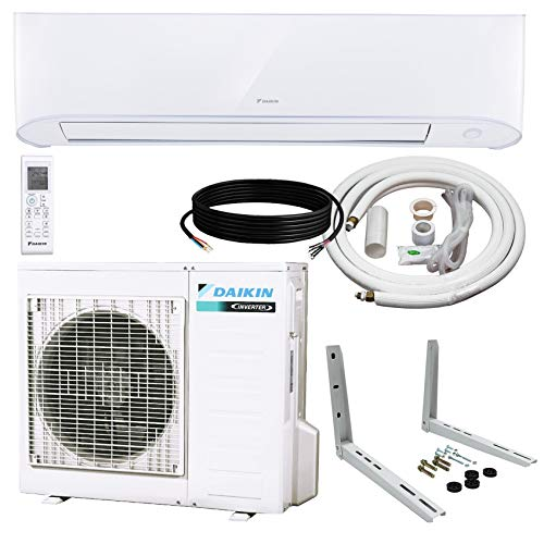 Daikin 18,000 BTU 17 SEER Wall-Mounted Ductless Mini-Split Inverter Air Conditioner Heat Pump System 15 Ft. Installation Kit & Wall Bracket (230 Volt) 10 Year Limited Warranty ()