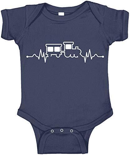 Amdesco Train Heartbeat Infant Bodysuit, Navy Blue Newborn ()