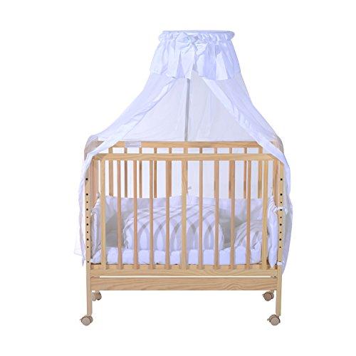Homcom® Babybettset Babybett Beistellbett Gitterbett Babywiege Schaukelwiege mit Bettwäsche (Modell1/weiß)