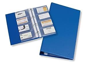 Rillstab tarjeta de visita de carpeta de 4anillas D de tarjeta de visita carpeta para 120tarjetas, 31x 17cm Azul