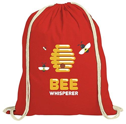 ShirtStreet Imker natur Turnbeutel mit Bee Whisperer Motiv Rot Natur RA436mUZ