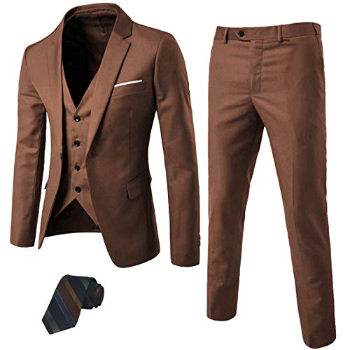 MY'S Men's 3 Piece Suit Blazer Slim Fit One Button Notch Lapel Dress Business Wedding Party Jacket Vest Pants & Tie Set Khaki