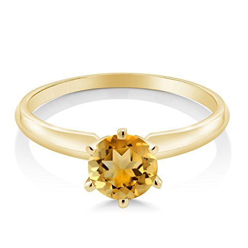 14K Yellow Gold Yellow Citrine Gemstone Birthstone Women's Engagement Solitaire Ring (0.70 Ctw Available in size 5, 6, 7, 8, 9)