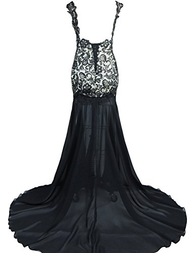 BessDress Dresses Sheer Sexy Evening Prom BD055 Throurh Royal See Lace Long Blue wwRrE8qZx
