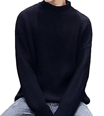 WANSHIYISHE Mens Stylish Turtle Neck Solid Big & Tall Pullover Loose Sweater