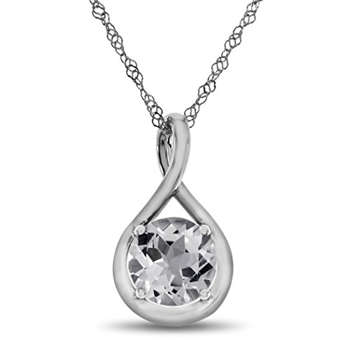 Finejewelers 7mm Round White Topaz Twist Pendant Necklace Chain Included 10 kt White Gold