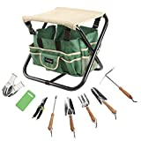 Finnhomy 10 Piece all-in-one Garden Tool Set Garden Folding Stool Seat with 1 Tote Bag, 5 Chrome Steel Garden Tools, 1 Pruning Shears, 1 Foam Kneeling Pad and 1 Pair Working Gloves
