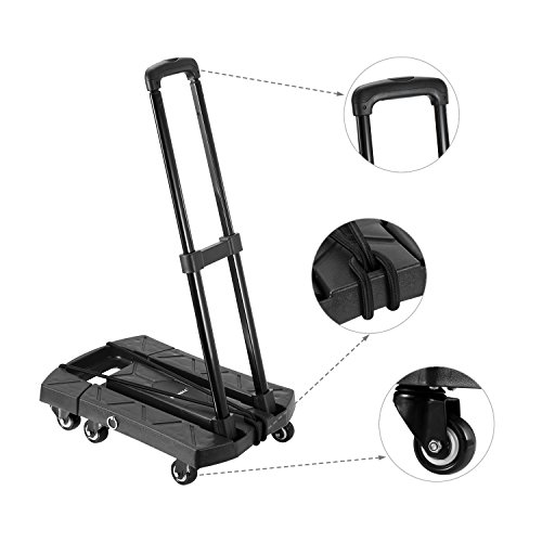 Ollieroo Cart Compact Personal Folding Hand Truck Luggage Cart with 6 wheels and Free Rope, 440 Lb Capacity Black by Ollieroo (Image #5)