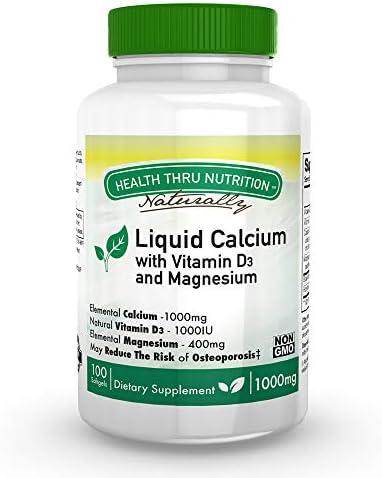 Calcio y magnesio líquidos con 1000 UI de D3, vitamina K, sin OGM ...