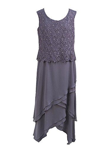Cameron Blake 13673 Cap Sleeve Lace & Long High Low Chiffon Social Dress (20, Delphinium)