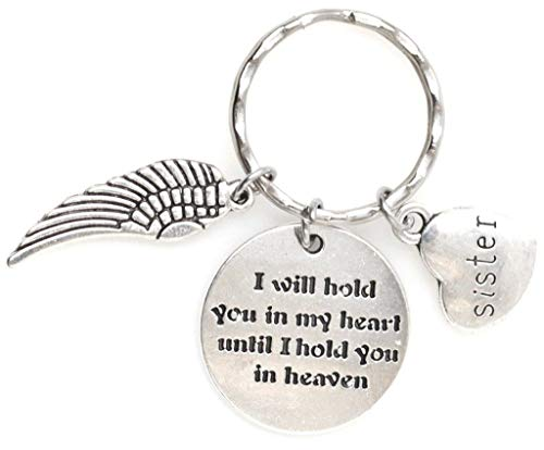 (I Will Hold You in My Heart Until I Hold You in Heaven Angel Wing Sister Keychain 112D)