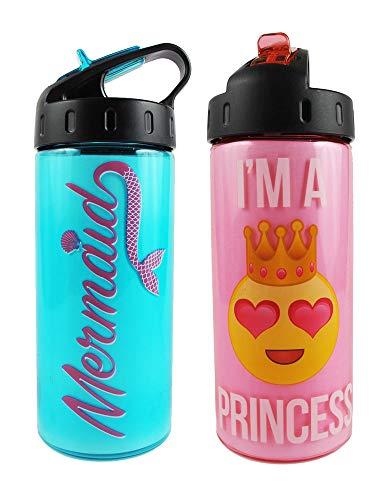 Kids BPA Transparent Water Bottle 16 oz. 2 Pack Unicorn & Mermaid No Spill Flip Top - Flip Transparent Top