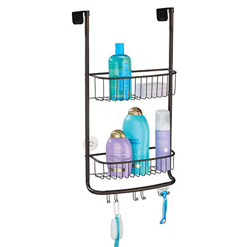 mDesign Modern Metal Bathroom Tub and Shower Caddy, Over Door Hanging Storage Organizer Center with 6 Built-in Hooks and 2 Baskets for Bathroom Shower Stalls, Bathtubs - Bronze (Shower Caddy Bronze Over The Door)