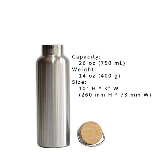 FidgetGear Premium Double Wall Vacuum Insulated Water Bottle Thermos with Bamboo Cap 26 oz (750 mL) from FidgetGear