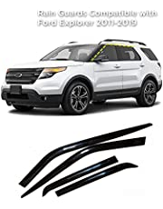 Rain Guards for Ford Explorer 2011-2019 (4PCs) Smoke Tinted Tape-On Style