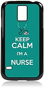 Keep Calm I'm a Nurse-Teal- Hard Black Plastic Snap - On Case-Galaxy s5 i9600 - Great Quality!