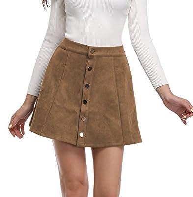 Argstar Women's Faux Suede Button Closure A-Line Mini Short Skirt for Christmas