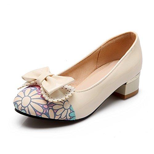 VogueZone009 Damen Rund Zehe Hoher Absatz Gemischte Farbe Ziehen auf Pumps Schuhe, Cremefarben, 38