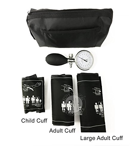 EMI 3 Cuff Aneroid Sphygmomanometer Combination Set. Includes Palm Type sphygmomanometer and Large Adult Cuff, Adult Cuff, and Child Cuff.