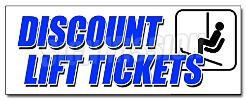"36"" DISCOUNT LIFT TICKETS DECAL sticker ski skiing slope lodge mountain snow"