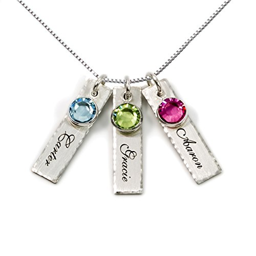 AJ's Collection Unity in Three Personalized Charm Necklace. Customize 3 Sterling Silver Rectangular Pendants with Names of Your Choice. Gifts for Her