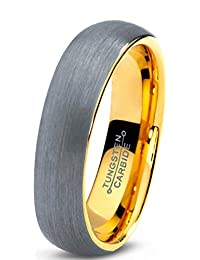 Tungsten Wedding Band Ring 5mm for Men Women Comfort Fit 18K Yellow Gold Plated Domed Brushed