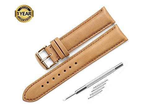 Brown Calfskin Mens Strap - iStrap 20mm Genuine Leather Watch Strap Padded Calfskin Band RG Spring Bar Buckle Super Soft - Brown