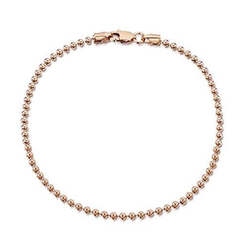 Amberta 14K Rose Gold Plated on 925 Sterling Silver 2 mm Ball Chain Bracelet Length 7