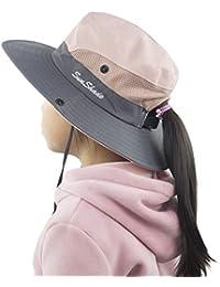 Muryobao Toddler Child Kids Girls Summer Sun Hat Wide Brim UV Protection Hats Floppy Bucket Cap for Beach Fishing Gardening Pink