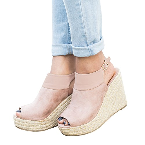 Womens Ankle Strap Buckle Peep Toe Wedge Sandals Platform Heeled Ruched Canvas Espadrille Summer (Toe Canvas Platform Espadrille Wedge)