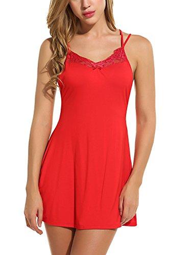 Halter Chemise (Avidlove Women Sexy Lingerie Back Cross Babydoll Halter Nightwear Flawless Chemise Red)