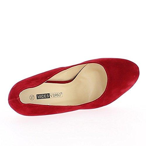 Aspetto rosso pompe tacchi in pelle scamosciata di 13,5 cm e plateau